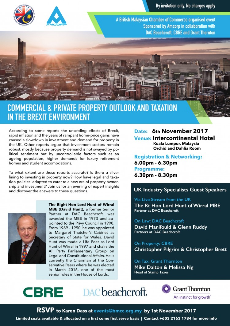 """BMCC & Amcorp - """"Commercial & Private Property Outlook and Taxation in the Brexit Environment"""""""