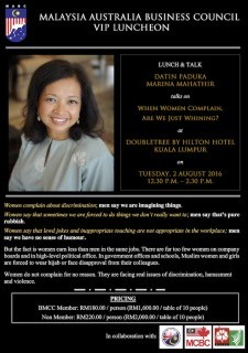 Malaysia Australia Business Council VIP Luncheon with Datin Paduka Marina Mahathir