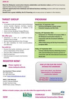 """Symposium and Business Matching Sessions on the """"Potential for EU SME Professionals in Malaysia"""""""