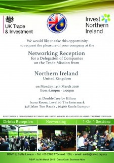 Networking Reception for a Delegation of Companies on the Trade Mission from Northern Ireland