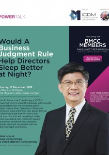 ICDM PowerTalk : Would a Business Judgment Rule Help Directors Sleep Better at Night?