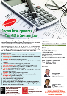 Recent Developments in Tax, GST & Customs Law