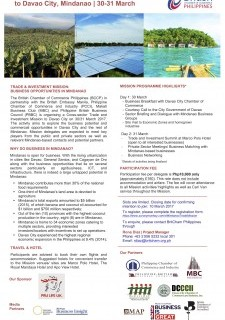 Trade and Investment Mission to Davao City, Mindanao | 30-31 March