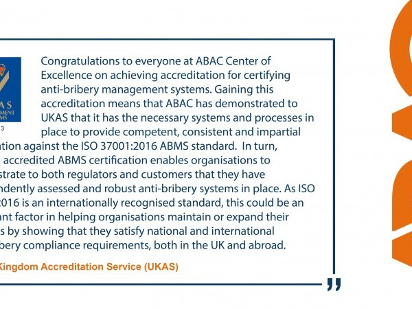 UKAS Accredits ABAC Center of Excellence's Anti-Bribery Certification Program