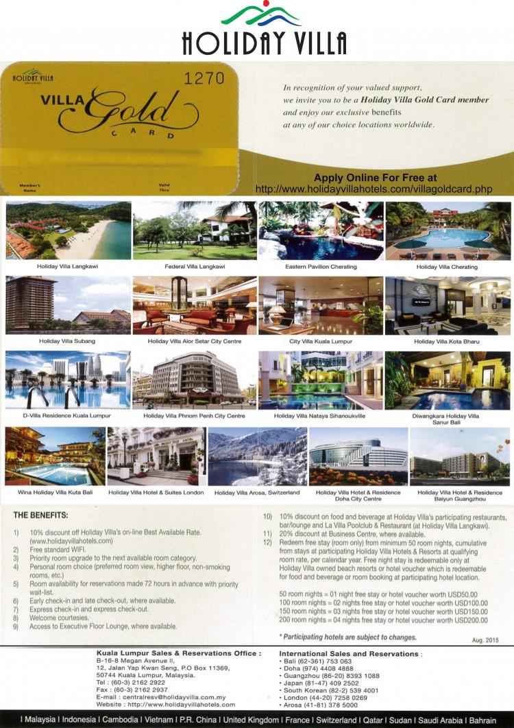 Holiday Villa Gold Membership Card