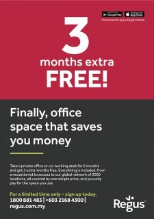 3 Months Extra Free - Office Space by Regus