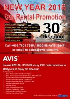 AVIS 2016 New Year Car Rental Promotion