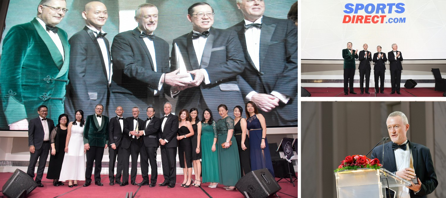 Paul Gibbons, Managing Director of Sports Direct Malaysia accepts the Award with his team