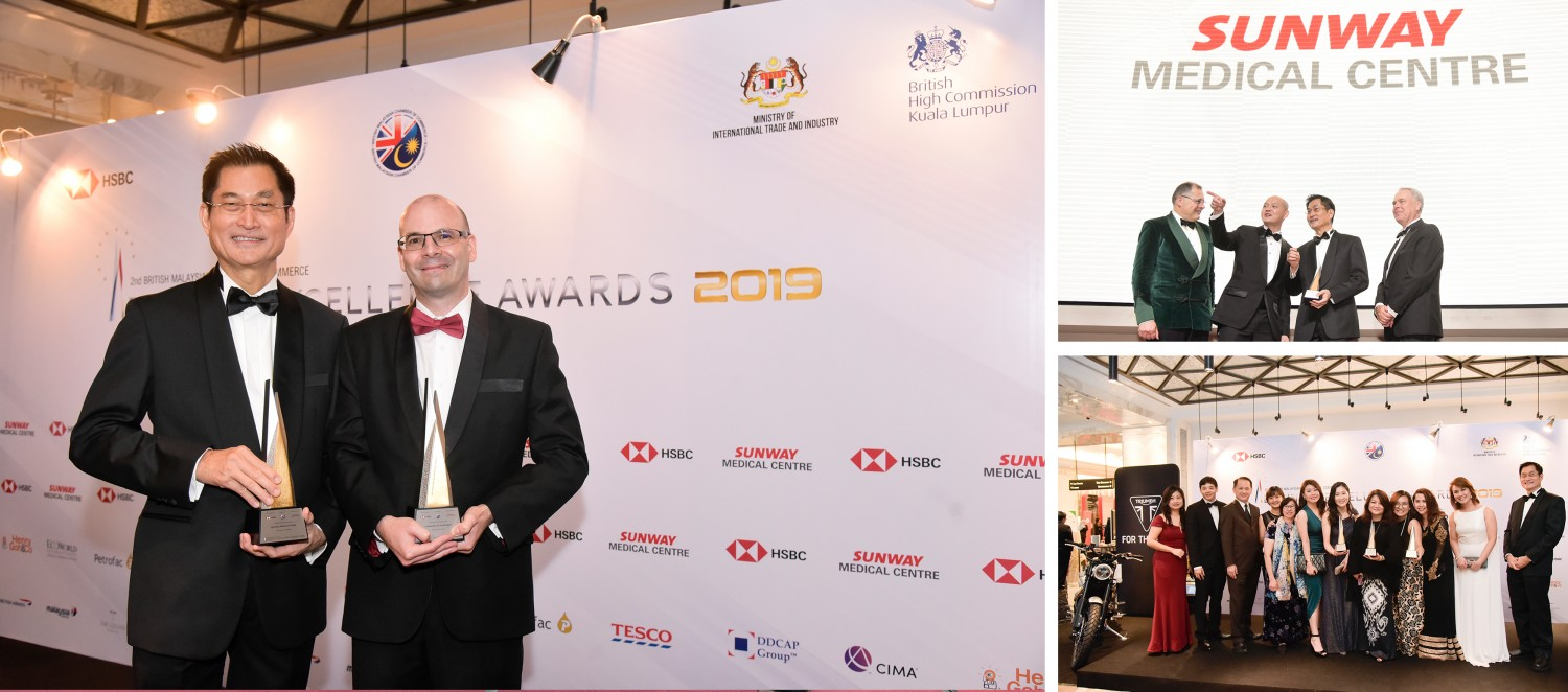 Choy Wah Wei CEO of Sunway Medical Centre and Professor Peter Heard, Deputy Vice Chancellor and Provost of Sunway University received the UK-Malaysia Partnership Award on behalf of Professor Jarlath Ronayne, Director of Sunway University