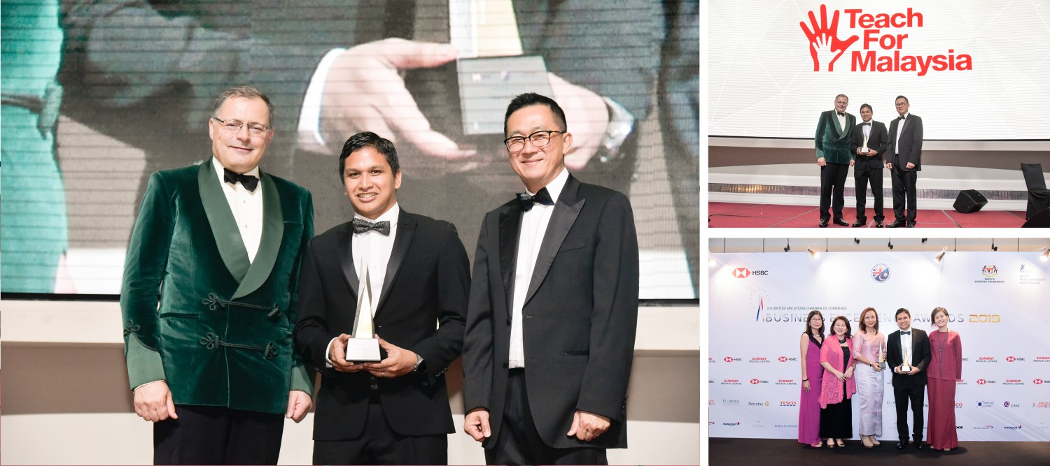 Dzameer Dzulkifli, Co-Founder & Managing Director of Teach For Malaysia accepting the Award from H.E. Charles Hay, British High Commissioner to Malaysia and David Ng, BMCC Deputy Chairman
