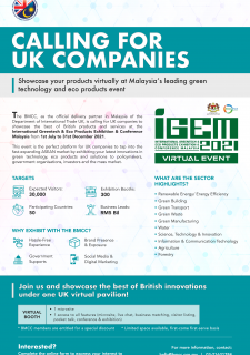 IGEM 2021: Calling for Interest from UK Exporters to Showcase UK Products & Solutions in Green Tech